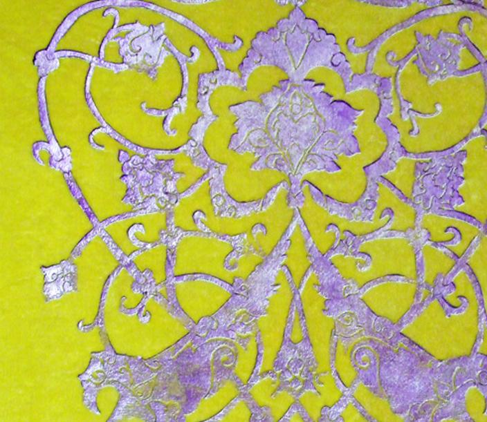 0ed04426ade8 018 Gilded Silver And Lilac Coeur De Suleyman On Custom Lemon Yellow Turner  Silk Velvet